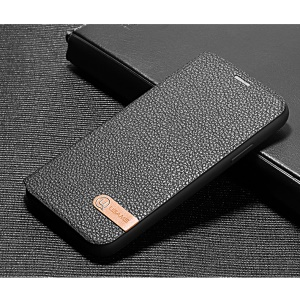 USAMS Litchi Texture PU Leather Stand Ultra Thin Mobile Case for iPhone X 5.8 inch - Black