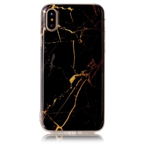 IMD Marble Pattern TPU Back Cover for iPhone XS / X/10 5.8 inch - Black / Gold
