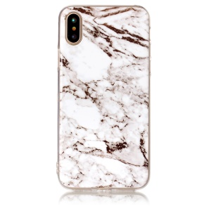 Marble Pattern IMD TPU Cell Phone Case for iPhone X/10 5.8 inch - White / Brown