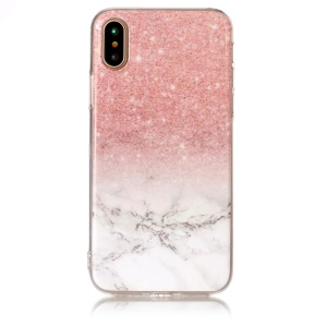 Marble Pattern IMD TPU Jelly Case for iPhone XS / X/10 5.8 inch - Pink / White