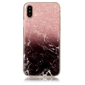 For iPhone XS / X/10 5.8 inch Marble Pattern IMD TPU Mobile Phone Case - Pink / Black