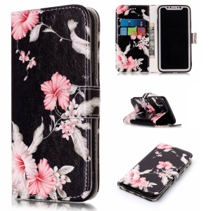 Pattern Printing Leather Wallet Flip Case Shell for iPhone X/XS 5.8 inch - Azalea Flower