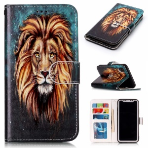 Pattern Printing Embossed TPU Protective Mobile Phone Shell for iPhone X 5.8 inch - Lion