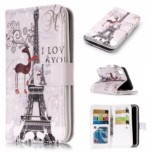 Embossing Pattern Printing Leather Wallet Magnetic Stand Mobile Phone Cover for iPhone X 5.8 inch - Eiffel Tower