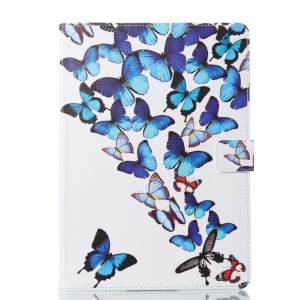 For iPad Pro 9.7 inch (2016) Pattern Printing Leather Wallet Stand Tablet Case Cover - Blue Butterflies