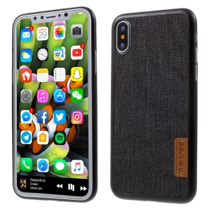 G-CASE Leather Coated PC Back Case for iPhone X 5.8 inch - Cloth Texture