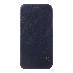 G-CASE Business Style Leather Phone Shell with Credit Card / SIM Card Holder for iPhone X 5.8 inch - Dark Blue