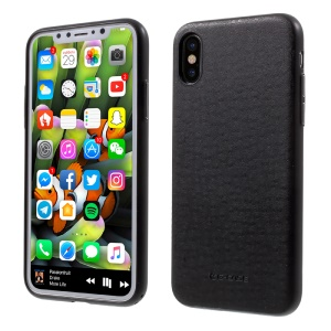 G-Case Ostrich Skin Leather Coated Hard PC Case for iPhone X 5.8 inch - Black