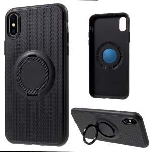 Finger Ring Kickstand Soft TPU Phone Case for iPhone X 5.8 inch - Blue