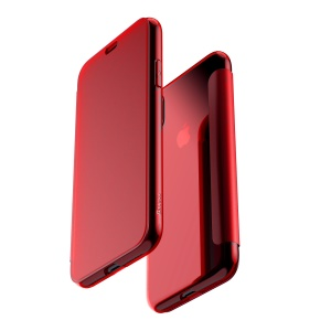 BASEUS Translucent View Window Touchable Plastic + TPU Flip Case for iPhone X 5.8 inch - Red
