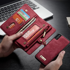CASEME Detachable 2-in-1 Split Leather Wallet Cover for iPhone X 5.8 inch - Red