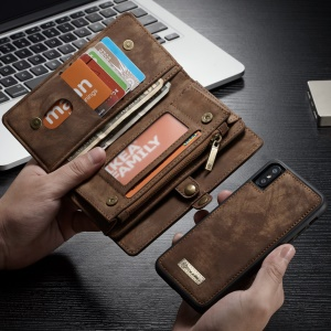 CASEME Detachable 2-in-1 Card Slots Wallet Split Leather Mobile Case for iPhone X 5.8 inch - Brown