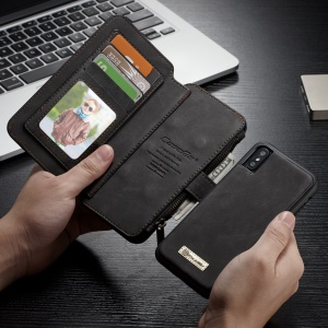CASEME 2-in-1 Multi-slot Wallet Split Leather Phone Case for iPhone X 5.8 inch - Black