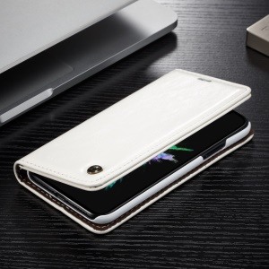 CASEME Oil Wax Leather Stand Wallet Cover for iPhone X - White