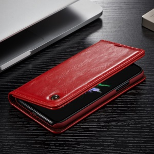 CASEME Oil Wax Leather Wallet Phone Shell with Stand for iPhone X - Red