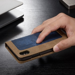CASEME Canvas Leather Auto-absorbed Wallet Phone Case for iPhone X - Blue