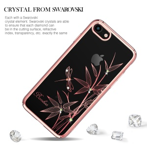 KINGXBAR Authorized Swarovski Crystal Plated PC Mobile Shell for iPhone 8 / 7 4.7 inch - Bamboo