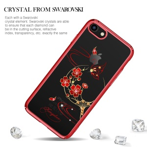 KINGXBAR Authorized Swarovski Crystal Plated PC Cover Case for iPhone 8 / 7 4.7 inch - Red Peach Blossom