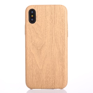 Wood Grain Leather Coated PC Phone Shell for iPhone X/XS 5.8 inch - Beige