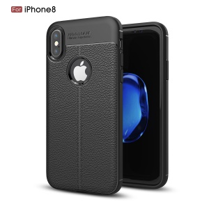 For iPhone XS / X/10 5.8 inch Litchi Grain Soft TPU Case Mobile Phone Cover - Black