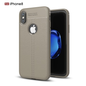 For Apple iPhone XS / X/10 5.8 inch Litchi Grain Soft TPU Case Casing - Grey