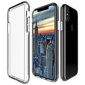 For iPhone X 5.8 inch Clear PC Back + TPU Frame Hybrid Phone Case - Transparent