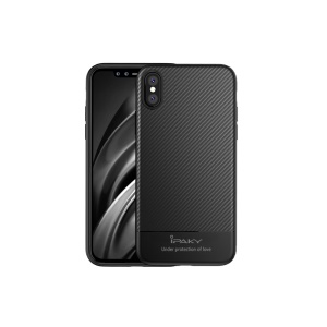 IPAKY Carbon Fiber Texture TPU Phone Case for iPhone X/10 5.8 inch - Black