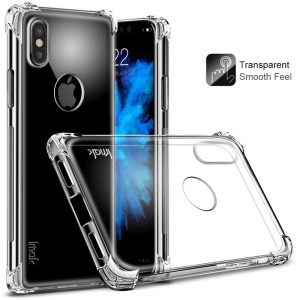 IMAK for iPhone XS / X/10 5.8 inch Smooth Feel Anti-drop Soft TPU Case + Explosion-proof Screen Film - Transparent