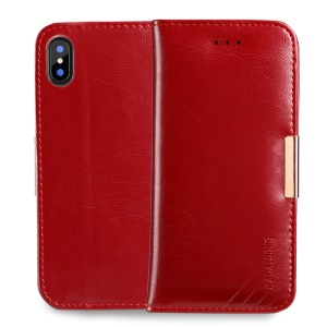 KALAIDENG Royal II for iPhone X 5.8 inch Genuine Leather Wallet Case Cover Stand - Red