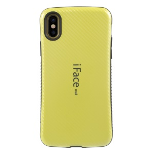 IFACE MALL Woven Pattern Hybrid Case (PC + TPU) Cover for iPhone X/XS 5.8 inch - Yellow