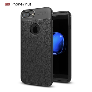 Litchi Grain TPU Casing Cover for iPhone 8 Plus / 7 Plus - Black