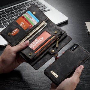 CASEME destacável 2-dentro-1 caixa de telefone Zipper Wallet Split Leather para iPhone X (dez) - negro
