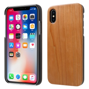 Real Wood Skin PC Hard Cover Case for iPhone X 5.8 inch - Cherry Wood