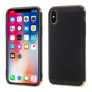 Electroplating Top and Bottom Mesh Plastic Phone Case for iPhone X 5.8 inch - Black