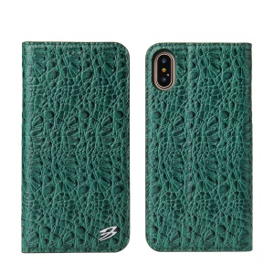 FIERRE SHANN for iPhone X 5.8 inch Crocodile Texture Wallet Leather Mobile Phone Cover Shell - Green