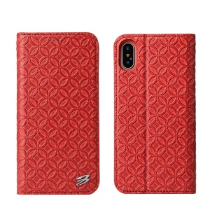 FIERRE SHANN Chinese Coin Texture Genuine Leather Card Slot Stand Case for iPhone X 5.8 inch - Red