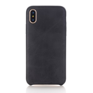 Retro Style Crazy Horse Leather Coated PC Back Case for iPhone X/XS 5.8 inch - Black
