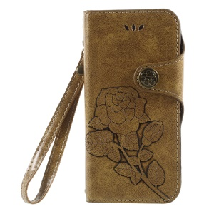 Retro Style Imprint Rose Pattern Wallet Leather Stand Mobile Cover para iPhone 8 / 7 4.7 polegadas - ouro