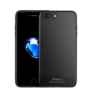 IPAKY Carbon Fiber Texture TPU Cell Phone Cover for iPhone 8 Plus / 7 Plus 5.5 inch - Black