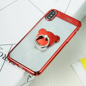 SULADA for Apple iPhone X (Ten) Bear Ring Holder Kickstand Plated PC Hard Cover - Red