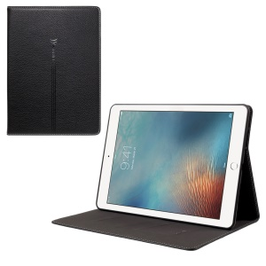 GEBEI Litchi Texture Leather Card Holder Stand Cover for iPad Pro 9.7 inch (2016) - Black