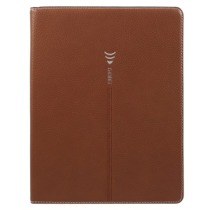 GEBEI Litchi Grain Card Slots Leather Protection Cover Shell for iPad 4 / 3 / 2 - Brown