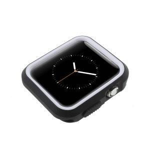 Two-tone Flexible Silicone Frame Cover for Apple Watch Series 2 / Series 1 38mm - Black + White