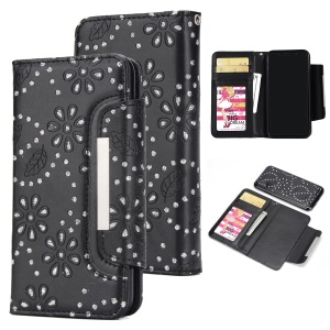 Glittery Leaves Flowers Leather Wallet Cover + Detachable Inner TPU Back Case for iPhone X/XS 5.8 5.8 inch - Black