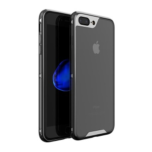 IPAKY Yuyan Series Plated PC Frame + Clear TPU Hybrid Case para iPhone 8 Plus / 7 Plus 5.5 inch - negro