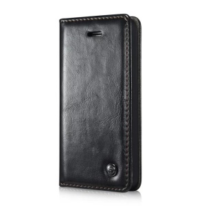 CASEME Oil Wax Leather Card Holder Case for iPhone SE 5s 5 - Black