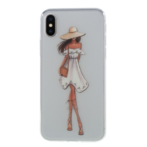 Light Pattern Printing Soft TPU Back Phone Case for iPhone X (Ten) 5.8 inch - Fashion Girl