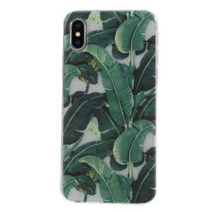 Pattern Printing TPU Gel Case for iPhone XS/X 5.8 inch - Green Leaves