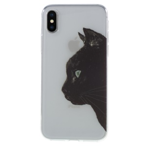 Pattern Printing TPU Flexible Case for iPhone X (Ten) - Black Cat