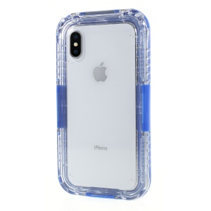 Plastic + TPU Hybrid Waterproof Case with Wrist Strap for iPhone X 5.8 inch - Blue